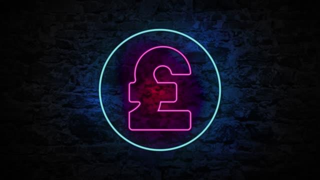 4k neon licht pfund zeichen animation auf der ziegelwand - pfand stock-videos und b-roll-filmmaterial