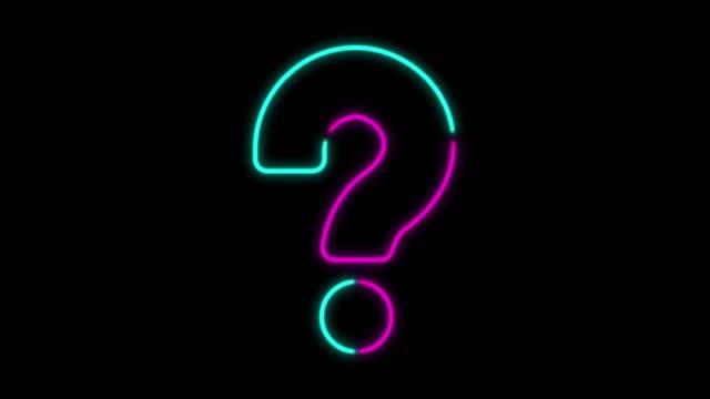 4K Neon Light Question Mark Animation on Black Background