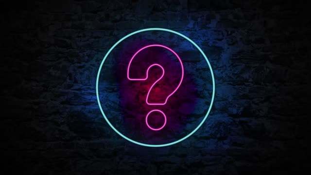 4K Neon light Question Mark animation on the brick wall