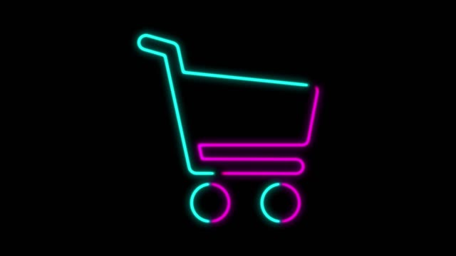 4k neon light einkaufswagen symbol animation auf schwarzem hintergrund - ausverkauf stock-videos und b-roll-filmmaterial
