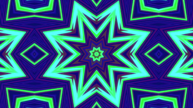 Neon light Stars Kaleida Background stock video Loopable