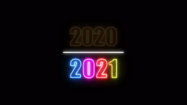 vídeos de stock e filmes b-roll de 2021 neon lights animation - passagem de ano
