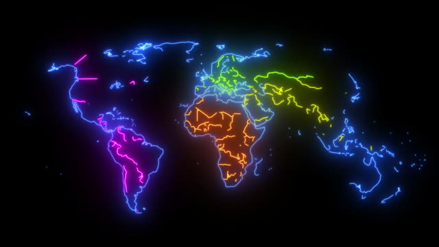 neon map of the world with countries and continents - страна географический объект стоковые видео и кадры b-roll