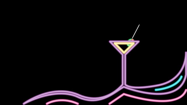 stockvideo's en b-roll-footage met neon martini bar sign background loop - martiniglas