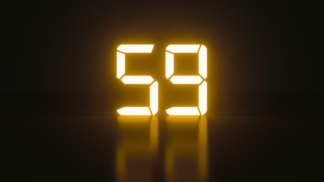 Neon minimalistic real time of one minute of times in an isolated space Neon minimalistic real time of one minute of times in an isolated space. Sci-fi stylish glowing countdown seconds with cool reflection for an analog style presentation. Close up static nice shot instrument of time stock videos & royalty-free footage