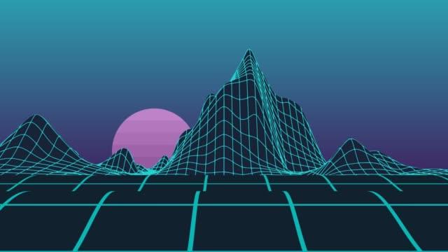 neon polygon raster computer bergen video mit motion-animation mit einem burgunder - kartographie stock-videos und b-roll-filmmaterial