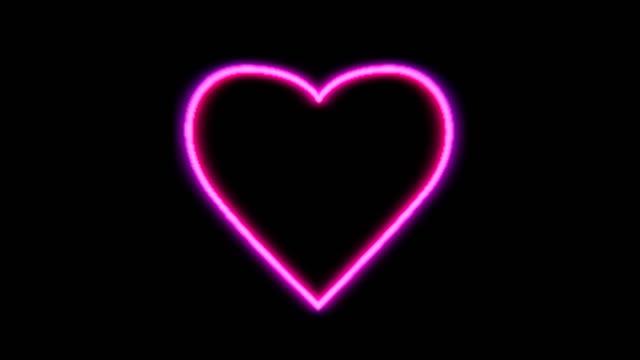 vídeos de stock, filmes e b-roll de túnel de coração de raio de neon - símbolo do coração