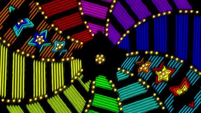 Neon sign animation. Rainbow colours. video