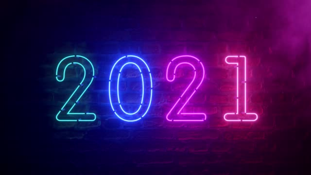 2021 neon sign background new year concept. Happy New Year. Brick background. Modern ultraviolet blue purple neon light. Flicker light 2021 neon sign background new year concept. Happy New Year. Brick background. Modern ultraviolet blue purple neon light. Flicker light happy new year 2021 stock videos & royalty-free footage