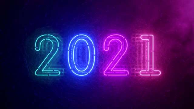 2021 neon sign background new year concept. Happy New Year. Metal background, Modern ultraviolet blue purple neon light. Flicker light