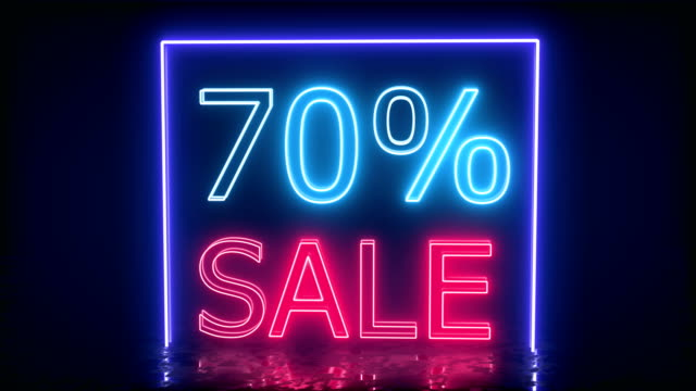 Neon sign banner background for promo. Concept of sale and clearance