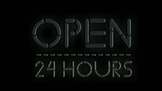 Neon sign flicker text animation Open 24 hours on black background