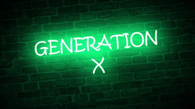 A neon sign: Generation X A high quality video of a neon sign that reads: Generation X