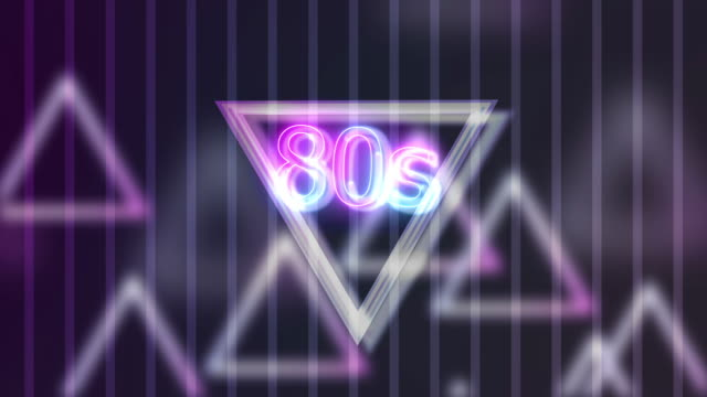 Neon Sign Lights 80s On Triangle Abstract Background
