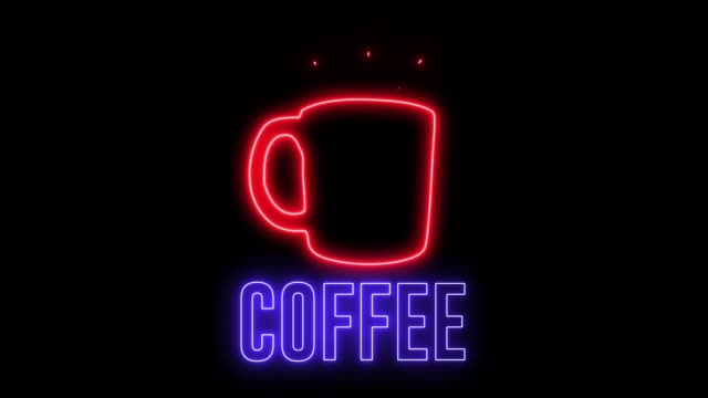 """neon sign of a cup of hot coffee and text """"coffee"""". glowing creative light and drink espresso, latte. - кофеин стоковые видео и кадры b-roll"""