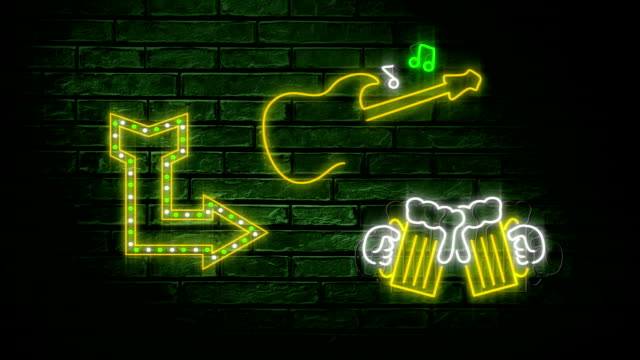 neon sign showing arrow, guitar and chinking beer glasses - happy hour video stock e b–roll