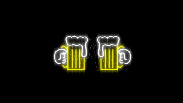 neon sign showing chinking beer glasses - happy hour video stock e b–roll