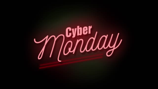 4k neon sign style flashing cyber monday title. motion animation. render 4k full hd and hd video footage. - stock video - cyber monday filmów i materiałów b-roll