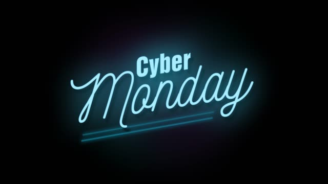4k neon sign style flashing cyber monday title. motion animation. render 4k fullhd and hd video footage. - stock video - cyber monday стоковые видео и кадры b-roll