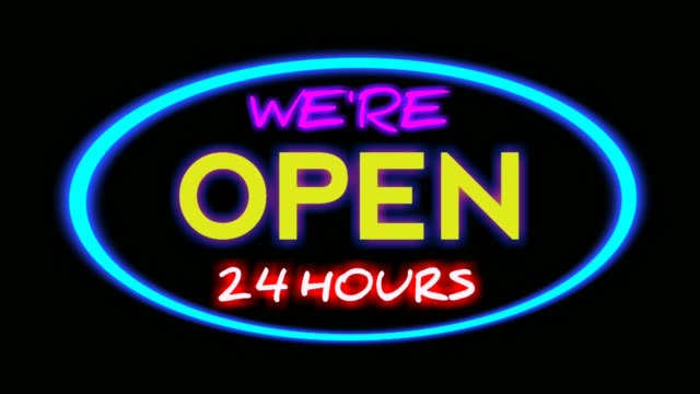 neon sign text we are open flicker and glowing on black background,using for bar,night club,restaurant,and shop modern billboard for business concept.4k video