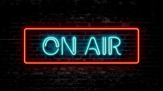 on air neon sign - radio video stock e b–roll