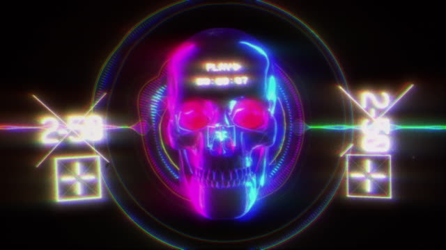 Neon Skull Glitch Background