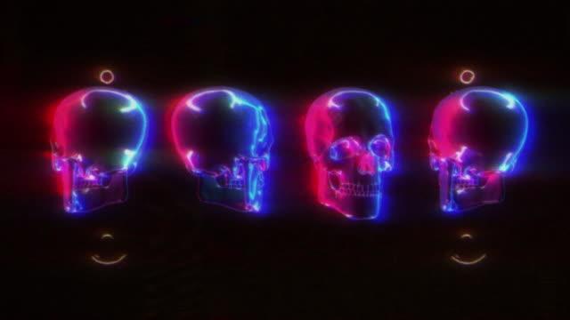 Neon Skull Glitch Bakgrund video