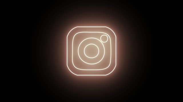 Neon social media icons set. Facebook, Instagram, Twitter and Youtube icon with neon, glowing led lights.