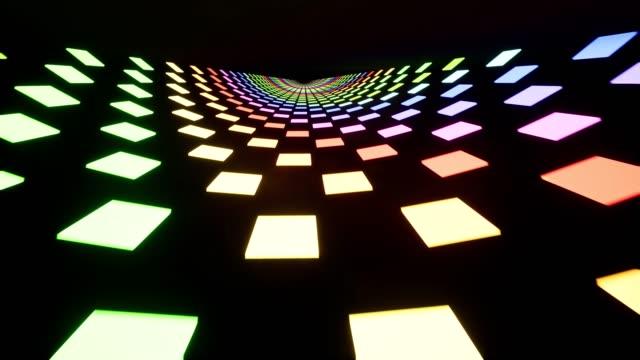 紫外線4kのネオンスパイラルトンネル - パターン点の映像素材/bロール