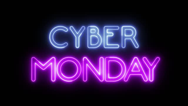 неоновый текст 'cyber monday' - cyber monday стоковые видео и кадры b-roll