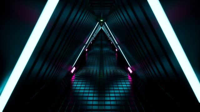 네온 터널 3d 렌더링 추상적 인 배경 4k - 카피 공간 스톡 비디오 및 b-롤 화면