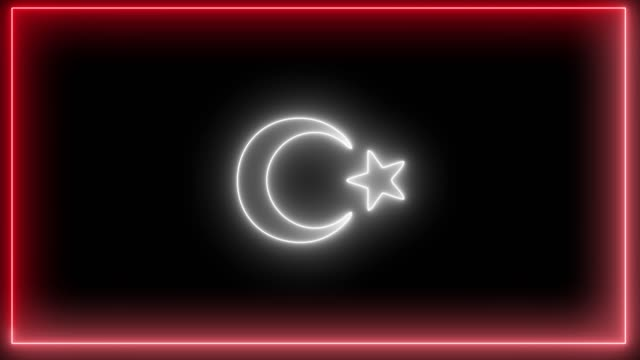 vídeos de stock e filmes b-roll de neon turkey flag, red and white colored neon, led light of turkish flag. - democracy illustration