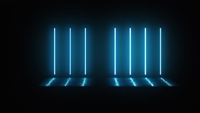 neon-vertikallampen schalten sich abwechselnd ein, leuchten und schalten sich im dunkeln aus. lampen leuchten mit blauem licht. in pfützen reflexion von lampen. schwarzer hintergrund. bewegungsgrafiken. - led leuchtmittel stock-videos und b-roll-filmmaterial