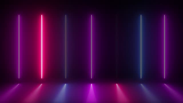 Neon vertical lamps alternately turn on, glow and turn off in the dark. Lamps glow In puddles reflection from lamps. Black background. Motion graphics