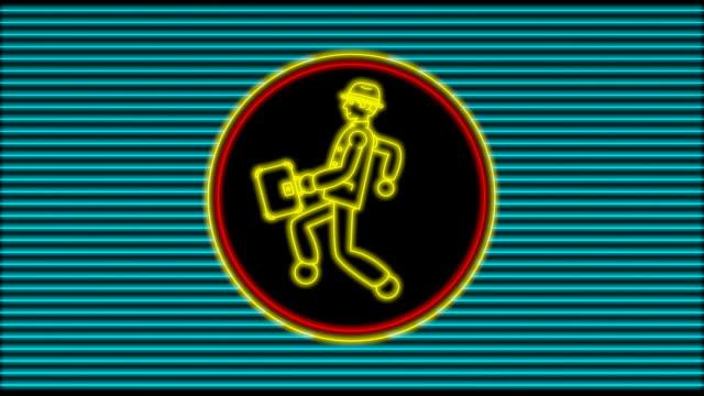 Neon Walking Businessman (4 loops) video