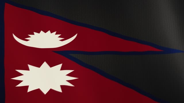 Nepal flag waving animation. Full Screen. Symbol of the country video