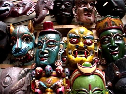Nepal, Handcrafted Masks, Kathmandu Market Stall video