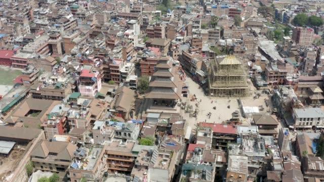 ネパール、カトマンズ、バクタプル。空中映像 - ネパール人点の映像素材/bロール