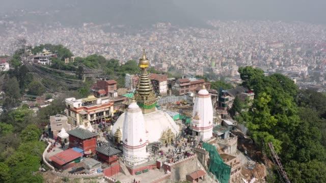 ネパール、カトマンズ。スワヤンブナート寺院。航空映像 - ネパール点の映像素材/bロール