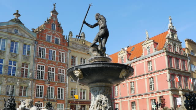 Neptune Fountain Bronze Metal, Gdansk Poland, Europe Town Square Architecture video