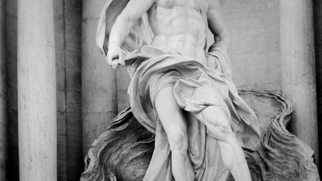 Neptune Statue at Trevi Fountain in Monochrome video