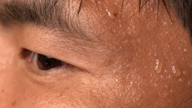 nervös asiatisk man svettas huden närbild makro - svett bildbanksvideor och videomaterial från bakom kulisserna
