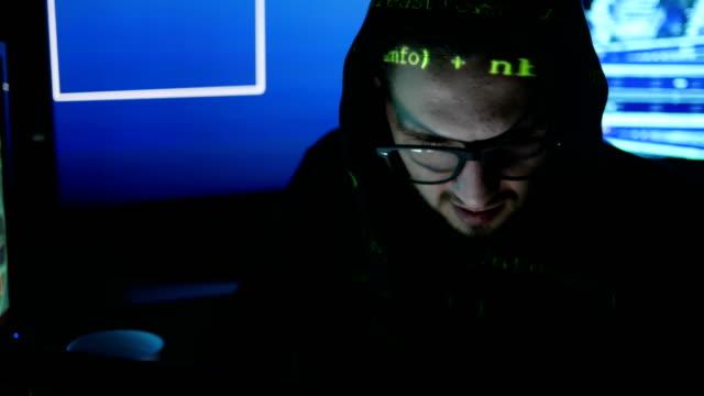 nervous hacker cracking system, Internet espionage, Hacked access password, Criminal hacker working on computer, Computer Terrorism video
