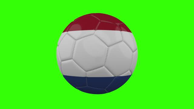 vídeos de stock, filmes e b-roll de bandeira holandesa na bola gira em fundo alfa verde transparente, loop - futebol internacional