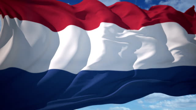 Netherlands Flag Flag waving in the wind outdoors with clear blue sky background and sun illuminated behind flag. netherlands stock videos & royalty-free footage