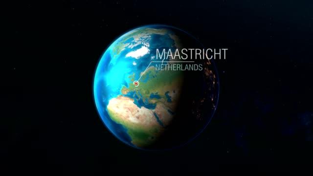 stockvideo's en b-roll-footage met nederland-maastricht-zoomen van ruimte naar aarde - maastricht