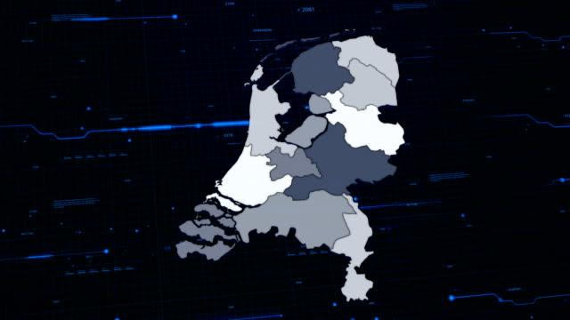 stockvideo's en b-roll-footage met kaart van het netwerk nederland - eindhoven