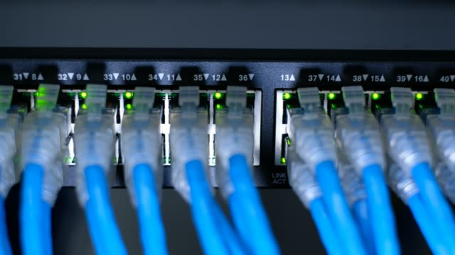 network cable connecting on network gigabit switch and led port status is blink. - filo metallico video stock e b–roll