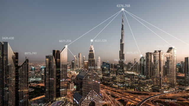T/L PAN 5G Network Concept, from Day to Night / Dubai, UAE