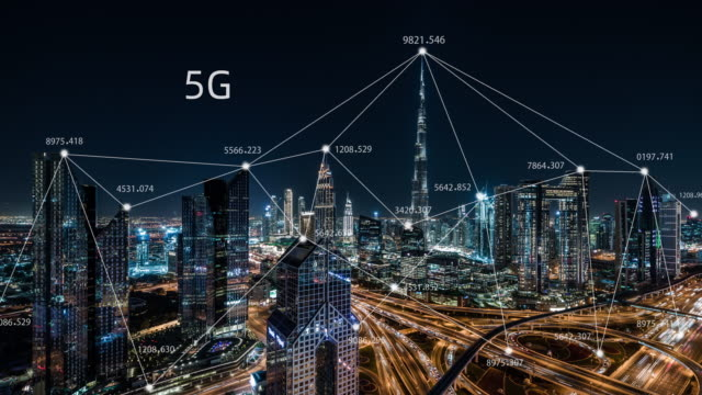 T/L ZO 5G Network Concept, from Day to Night / UAE 5G Network Wireless Systems and Internet of Things with Modern City Skyline dubai architecture stock videos & royalty-free footage